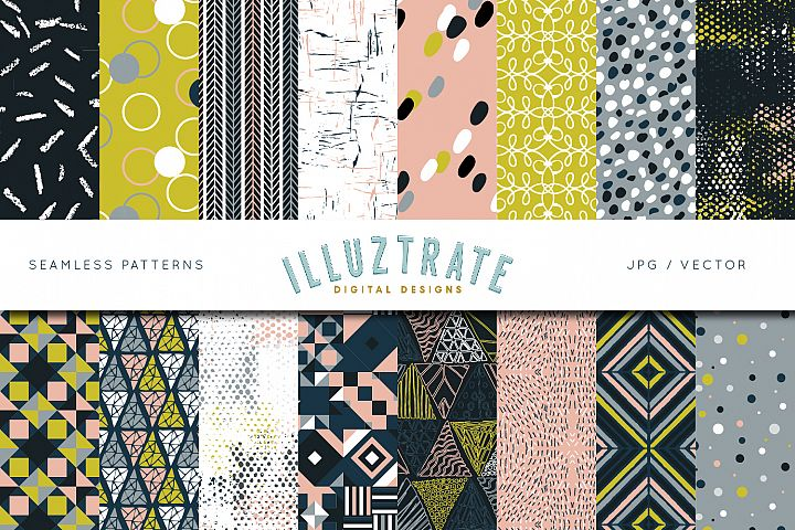 Retro Vector Pattern Set | Seamless Digital Papers