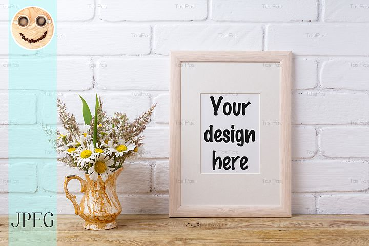 Wooden frame mockup with chamomile and grass in golden pitch