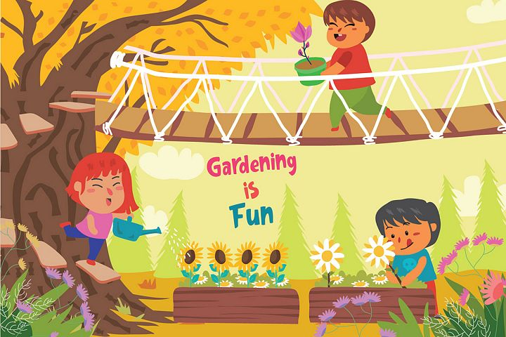 Gardening is Fun - Vector Illustration