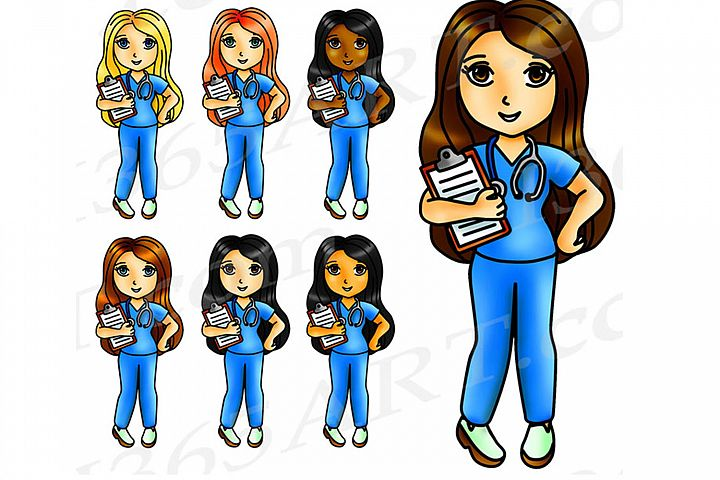 Kawaii Nurse Clipart, Nurse Girls, Digital Graphics, PNG JPEG Commercial