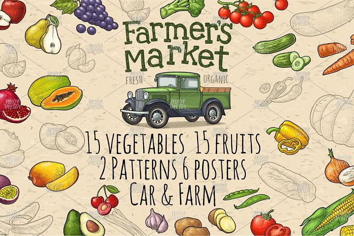 Farmers market. Set vegetables and fruits. Vector engraving
