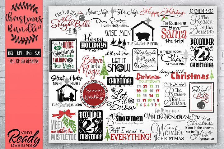Christmas Bundle #2- 30 designs - Vector Clip Art File