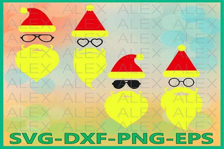 Hipster Santa SVG, Santa SVG, Christmas Face Svg, Santa Face