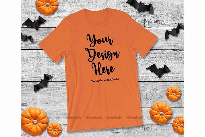 Halloween Orange T-Shirt Mock Up, Fall Bella Canvas 3001