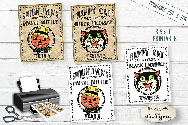 Printable Halloween Tags - Halloween Candy - PDF and JPG
