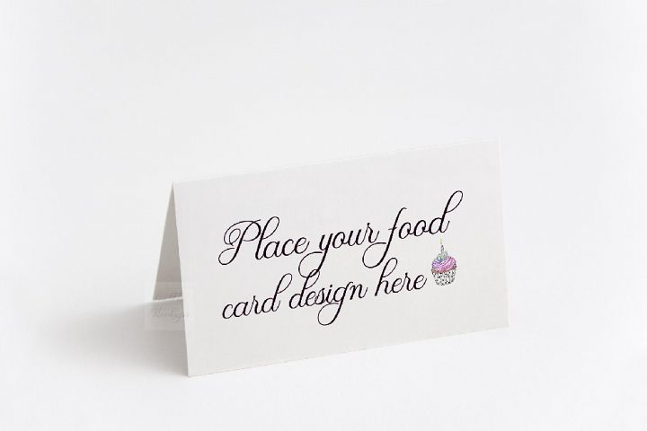Blank food Card Mock up photo Table number guest tag mockup
