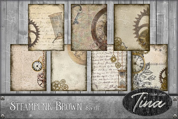 HUGE 50pc Set Beautiful Brown Steampunk Pages Element Tags