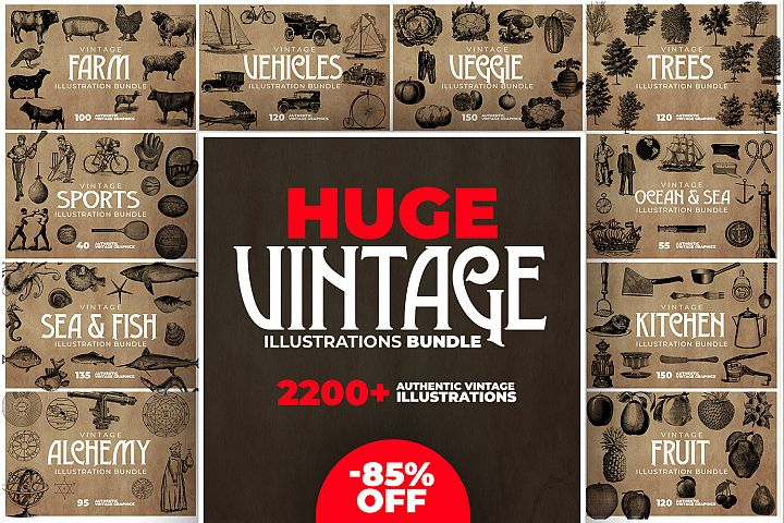 2200 Vintage Graphics Bundle