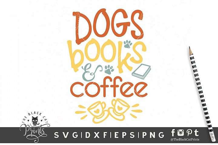 Dogs Books & Coffee SVG DXF EPS PNG