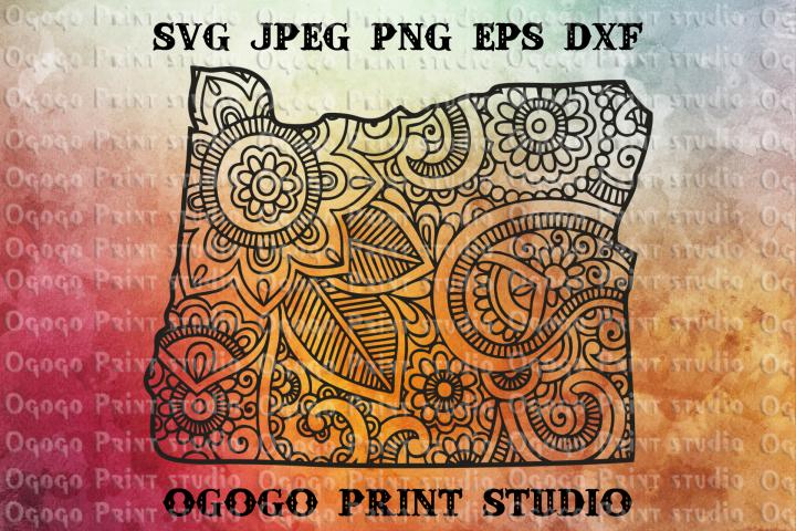 Oregon SVG, Map Zentangle SVG, Mandala svg, Travel svg