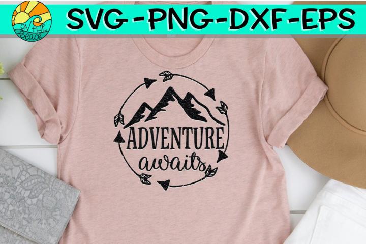 Adventure Awaits - Mountains - Arrows - Circle