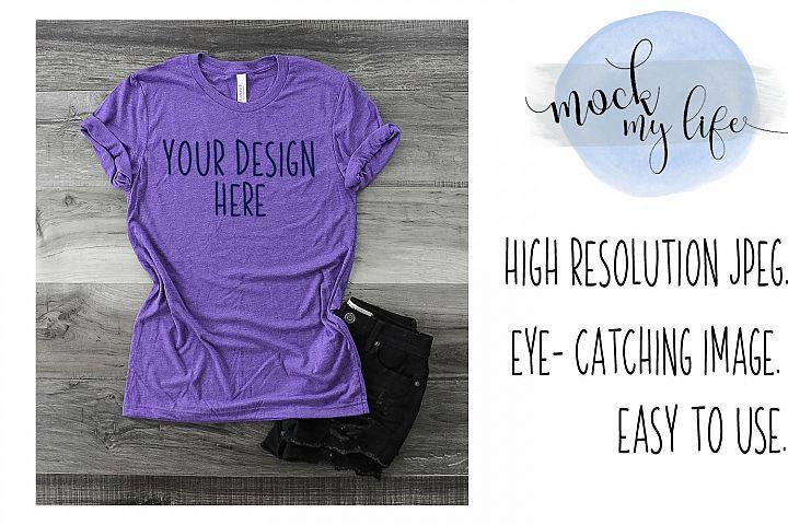 Mockup Bella Canvas Shirt / Flat Lay / Purple Shirt