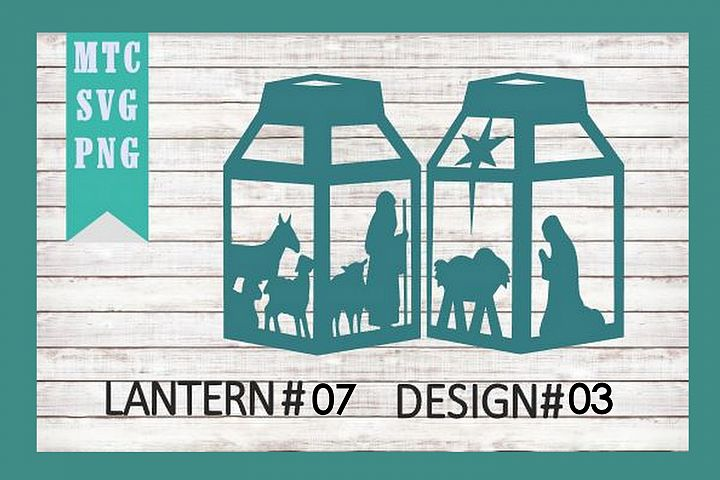 Christmas Nativity 3D Paper Lantern #07 Design #03 Cut File