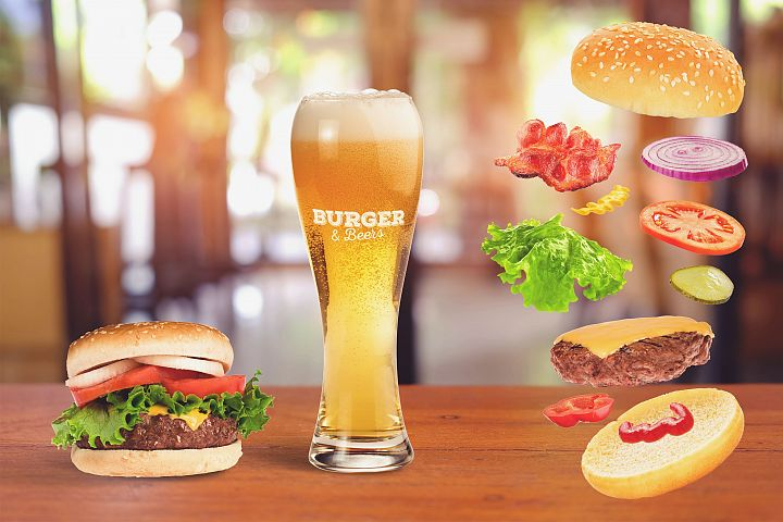 Beer and Burger Mock-up #6