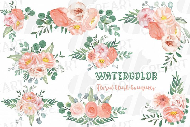 Watercolor blush wedding bouquets, floral bouquets clip art