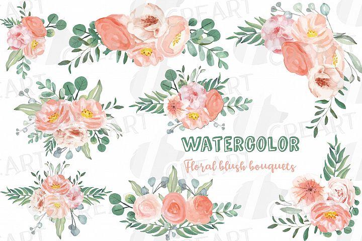 Watercolor blush wedding bouquets, floral bouquets clip art