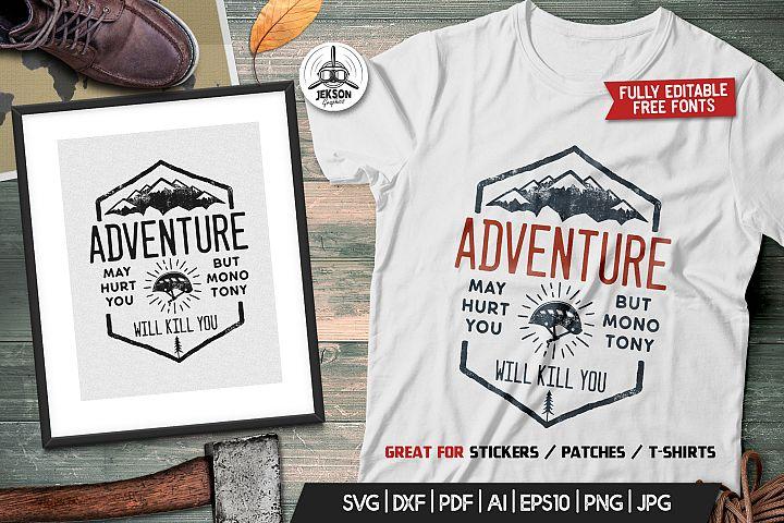 Adventure Logo Design, Camping Retro Hiking TShirt SVG