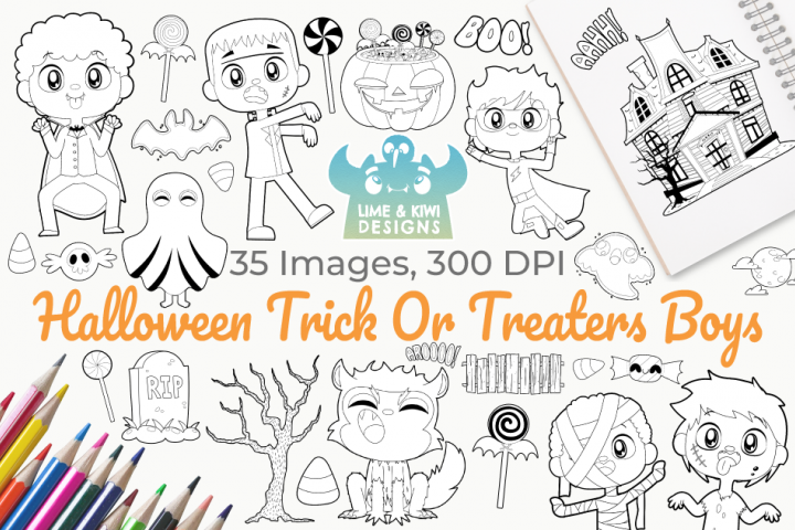 Halloween Trick Or Treaters Boys Digital Stamps