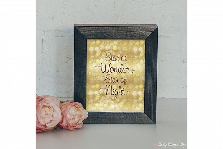 Star of Wonder Glitter Bokeh Art Print - Holiday Home 8x10 Printable