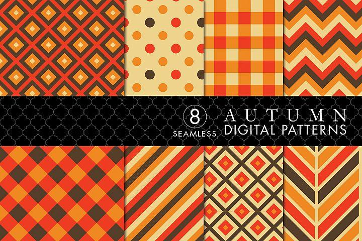 8 Seamless Autumn Patterns Set 2