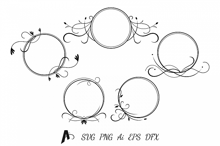 Decorative frames design. Flower frames vector elements.