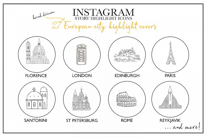 Instagram Story Travel Icons, 27 Hand Drawn City Icons