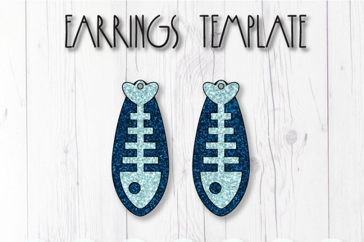 Fish bone earrings template SVG, DIY earrings template