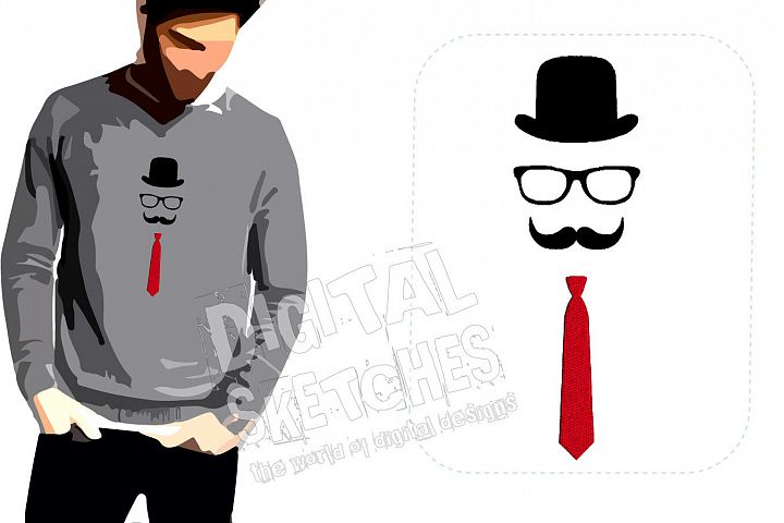 Mustache Tie Hat Machine Embroidery Design 3 Sizes
