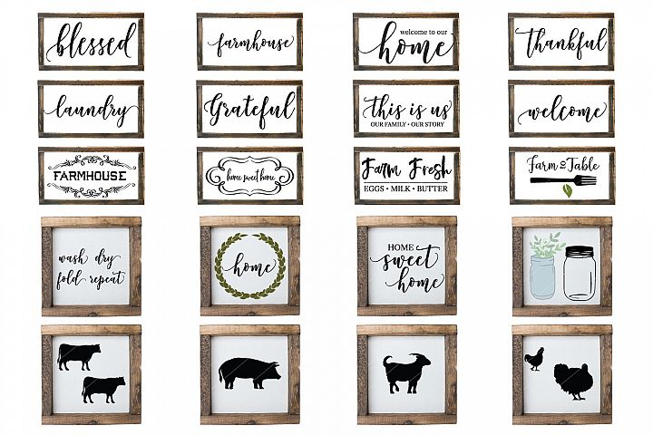 Farmhouse Sign Bundle SVG PNG DXF and JPG Silhouette Files