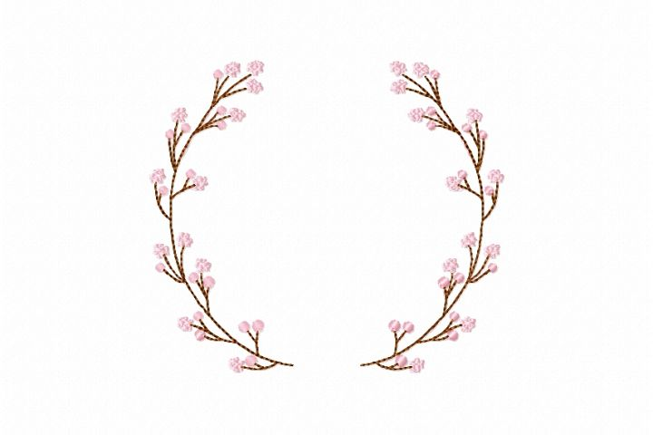 Sakura Floral Wreath Font Frame Monogram Design - EMBROIDERY DESIGN FILE - Instant download - Vp3 Hus Dst Jef Pes formats hoop 4x4 5x7 6x10