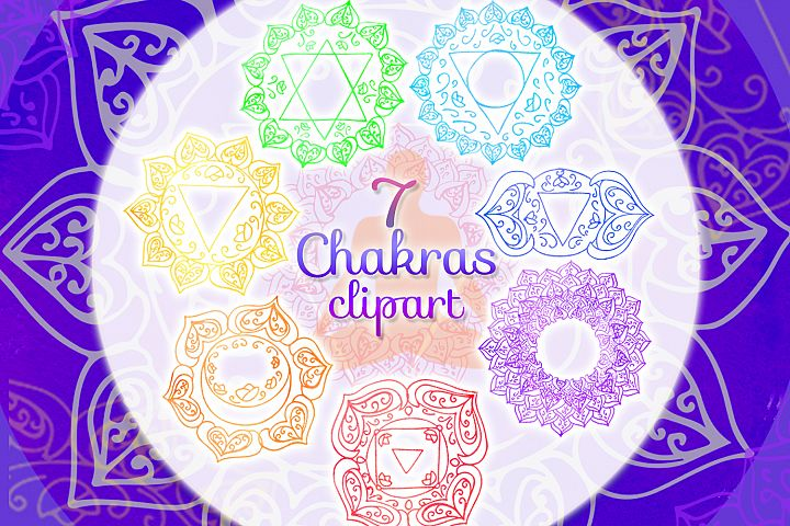 Watercolor chakras clipart 7 chakras set Yoga Meditation