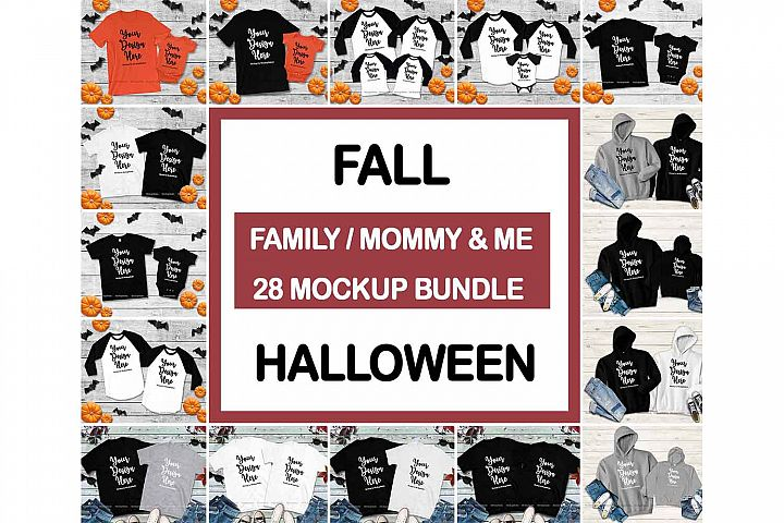 Mommy and Me Fall Tshirt Mockup Bundle, Matching Family
