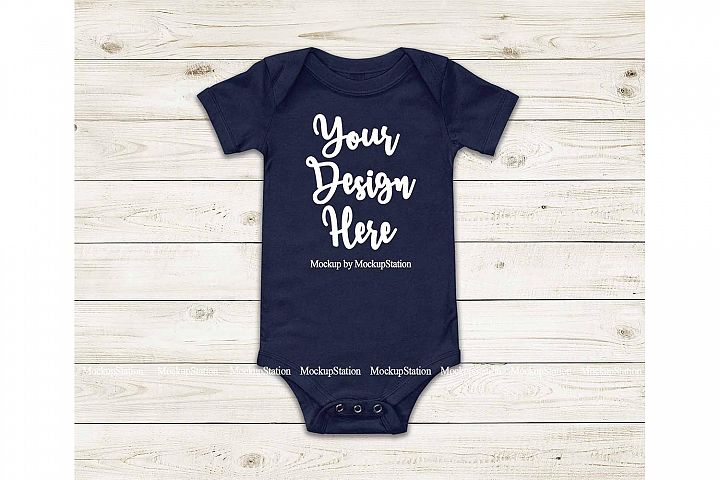 Baby Navy Bodysuit Mockup, Blank Newborn Infant Toddler Tee