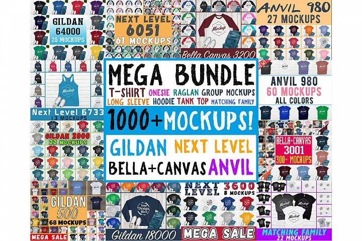 1000 Huge Bundle Shirt Mockup, Bella Canvas, Gildan Mockups
