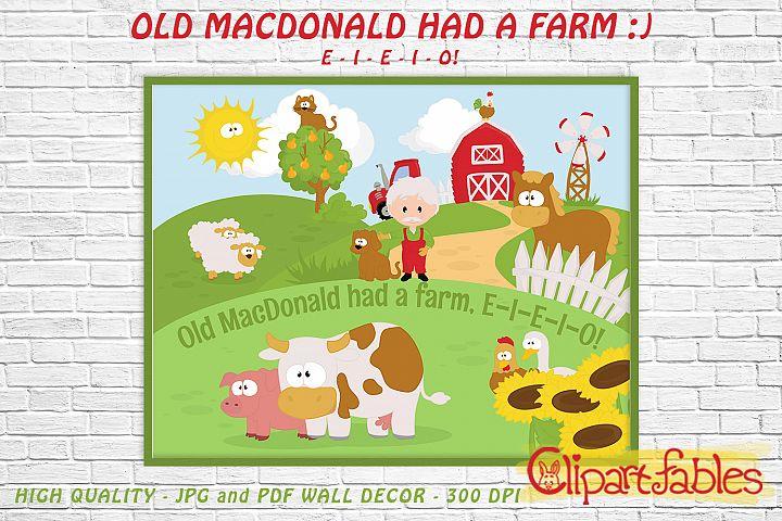 OLD MACDONALD HAD A FARM, Digital print, INSTANT wall decor