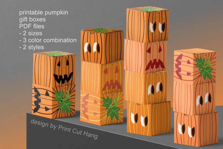 Pumpkins Treat Boxes Templates PDF files - 2 size - 2 style