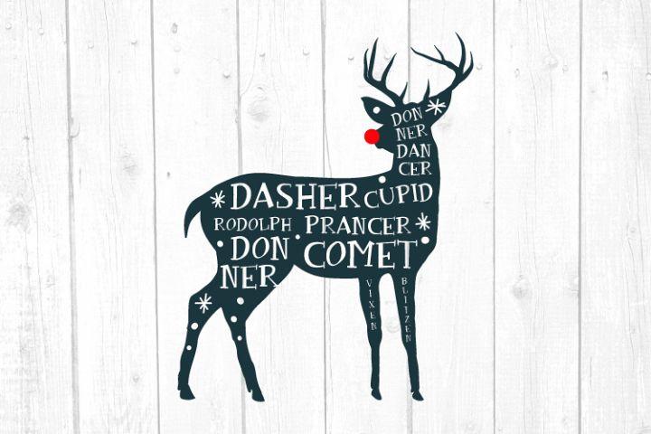 Reindeer Names Svg, Deer Svg, Christmas, Christmas Svg