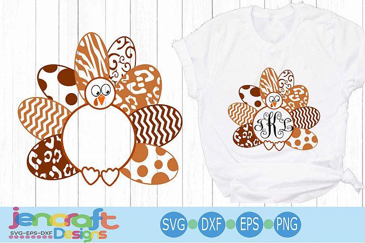 Layered Turkey SVG, Patterned Monogram Frame Thanksgiving