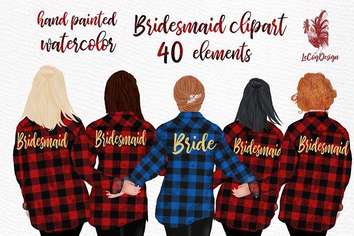 Buffalo Plaid Wedding Robes clipart