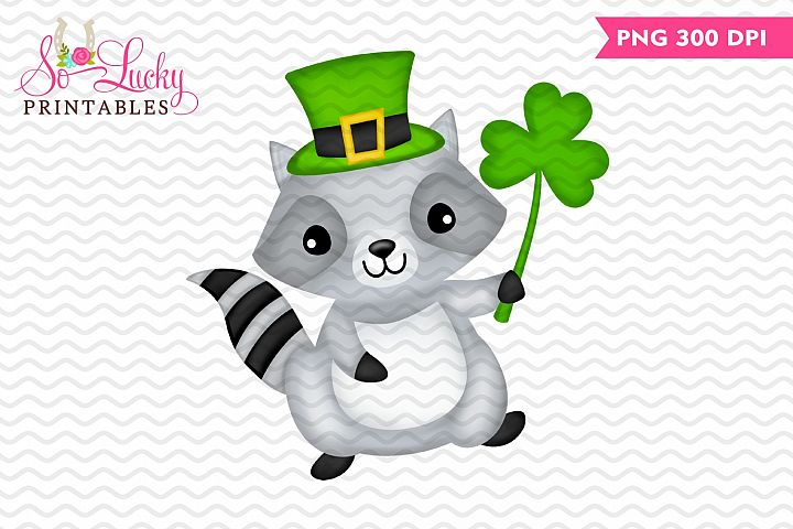 St Patricks Day Racoon printable sublimation design