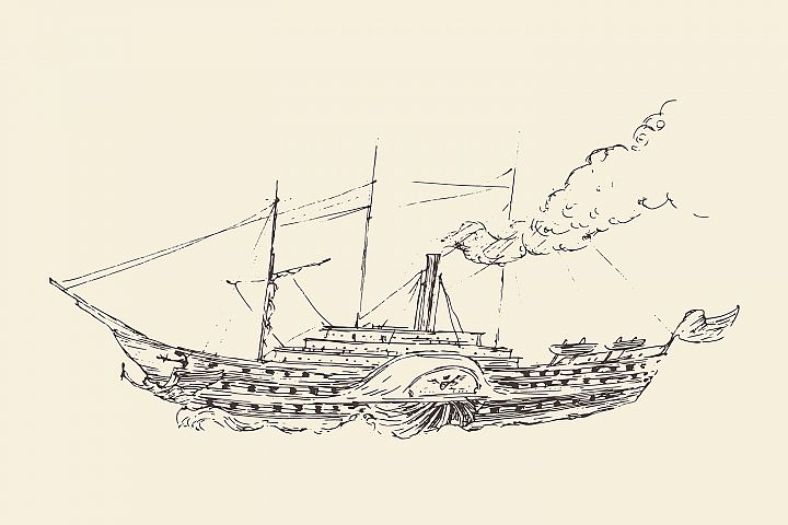 Set of engraved style ships example 1