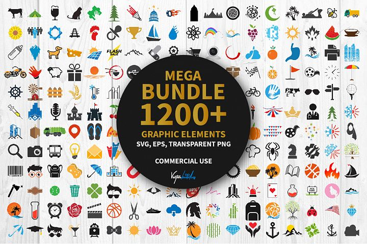 Mega bundle 1200 graphic elements