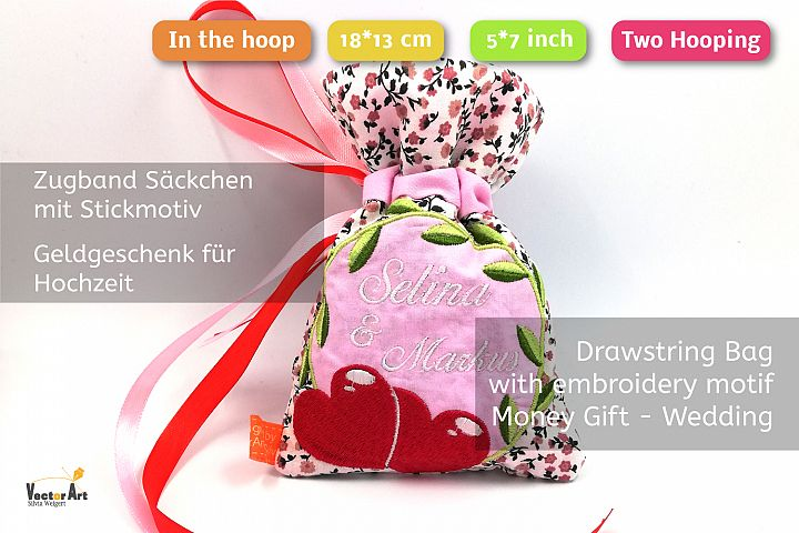 ITH -Drawstring Bag for Wedding Money Gift - Embroidery File