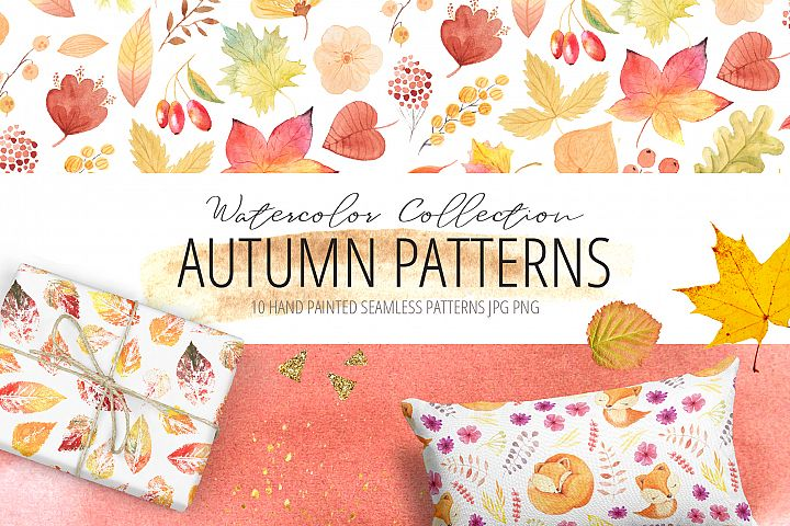 10 Watercolor Autumn Patterns