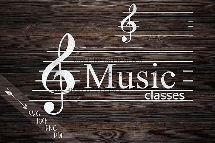 Music key monogram frame for name music classes svg dxf cut