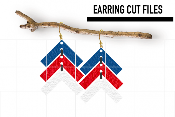 4th of July Earrings Svg / Leather / Faux / Wood / Laser C