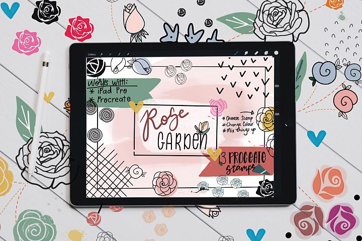 Rose Garden Procreate Stamp Brushes for Procreate