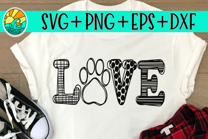 LOVE - Paw - Cat - Dog - SVG - DXF - EPS - PNG