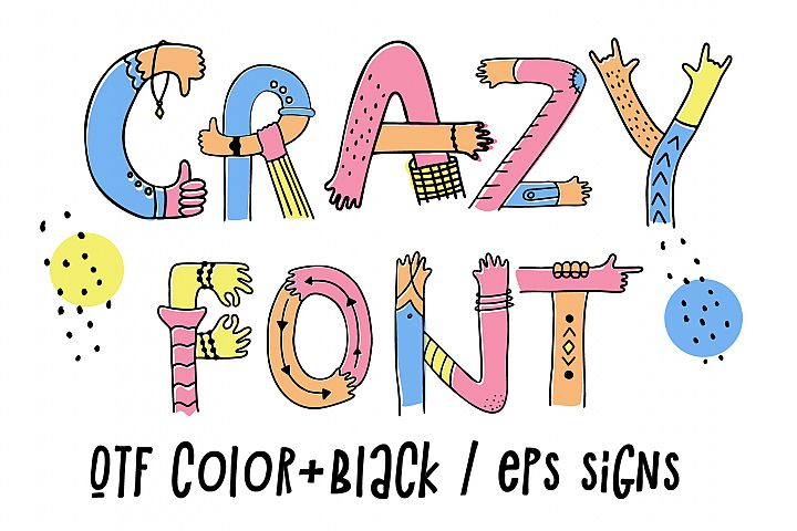 Hands up crazy color font example image 2