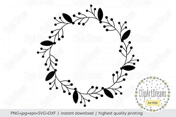 Floral wreath SVG Monogram frame cutting file